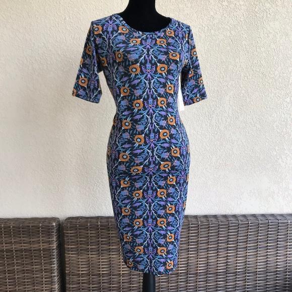 LuLaRoe Dresses & Skirts - LuLaRoe Julia Dress Black Purple Blue Orange S NEW